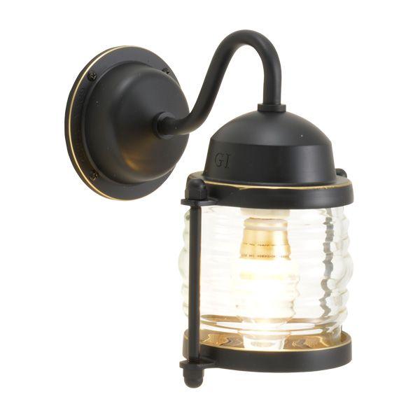 ゴーリキアイランド 700477 真鍮製ブラケットランプ クリアガラス&LEDランプ BR1710 CL LE 黒色 ポーチライト アンティーク レトロ