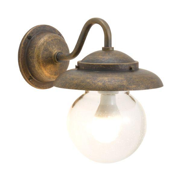 ゴーリキアイランド 750265 真鍮製ブラケットランプ 泡入りガラス&LEDランプ BR1771 BU LE 軒下用 防滴 古色 ポーチライト アンティーク レトロ
