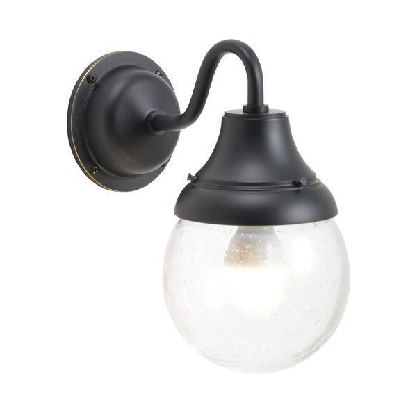 ゴーリキアイランド 750282 真鍮製ブラケットランプ 泡入りガラス&LEDランプ BR1784 BU LE 軒下用 防滴 黒色 ポーチライト アンティーク レトロ
