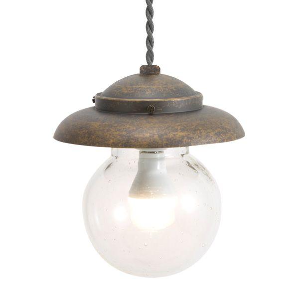 ゴーリキアイランド 750440 真鍮製ペンダントライト 泡入りガラス&LEDランプ PW1771 BU LE 古色 真鍮 インテリアライト 天井照明 北欧