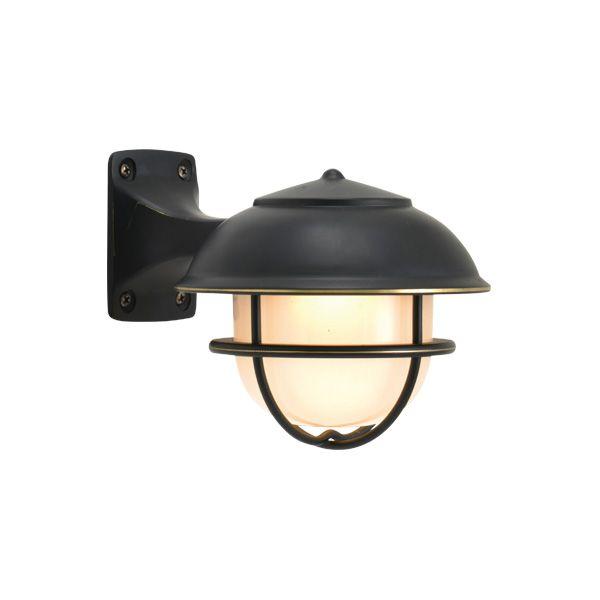 ゴーリキアイランド 750517 真鍮製ブラケットランプ くもりガラス&LEDランプ BR5000 FR LE SHORTタイプ 黒色 ポーチライト アンティーク