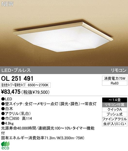 オーデリック(ODELIC) [OL251491] LEDシーリングライト