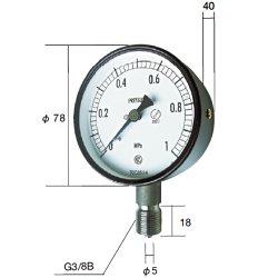 長野計器 NKS AC10-133-10.0MP 普通形圧力計 A枠立型 75mm 【0.0~10.0MPa】 圧力 ゲージ AC1013310.0MP