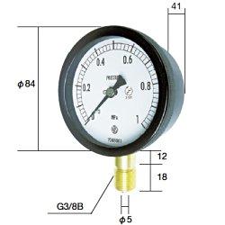 長野計器(NKS) [BC10-131-4.0MP] 密閉形圧力計 A枠立型(75mm)【0.0~4.0MPa】 圧力 ゲージ BC101314.0MP
