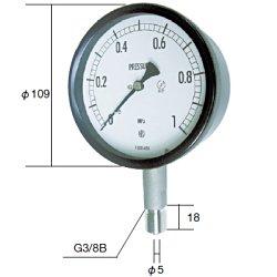 長野計器 NKS BE10-133-6.0MP 密閉形圧力計 A枠立型 100mm 【0~6.0MPa】 圧力 ゲージ BE101336.0MP