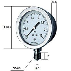 【あす楽対応】長野計器(NKS) [GV51-133-1.0MP] グリセン入圧力計(75mm立型 A枠・JIS準拠品)【0~1.0MPa】 圧力 ゲージ GV511331.0MP