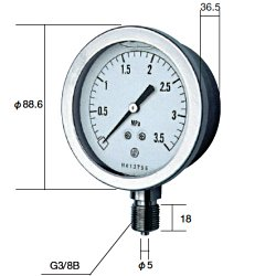 長野計器 NKS GV51-133-5.0MP グリセン入圧力計 75mm立型 A枠・JIS準拠品 【0~5.0MPa】 圧力 ゲージ GV511335.0MP