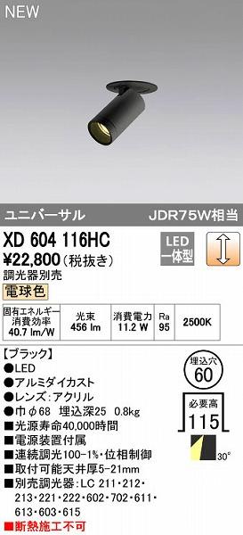 オーデリック ODELIC XD604116HC LEDダウンライト【送料無料】