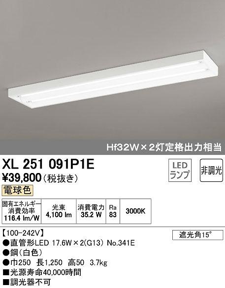 オーデリック ODELIC XL251091P1E LEDベースライト【送料無料】