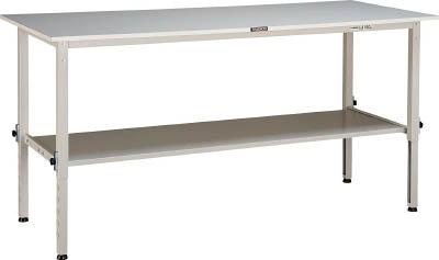 トラスコ中山(TRUSCO) [RAEM0960LT2W] 「直送」【代引不可・他メーカー同梱不可】 RAEM型高さ調整作業台 900X600 下棚2枚付 W色