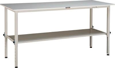 トラスコ中山(TRUSCO) [RAEM1809LT2W] 「直送」【代引不可・他メーカー同梱不可】 RAEM型高さ調整作業台 1800X900 下棚2枚付 W色