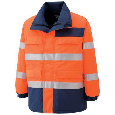 【あす楽対応】ミドリ安全[SE1125-UE-M] 高視認性 防水帯電防止防寒コート オレンジ MSE1125UEM