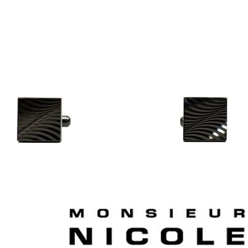 【MONSIEUR NICOLE】ムッシュニコル スクエアカットカフス シルバー 9162-7801