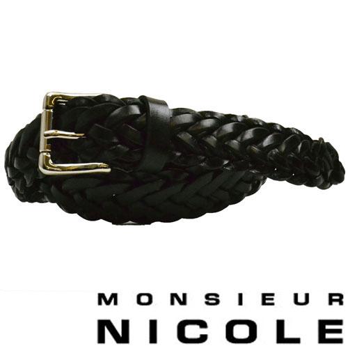 【MONSIEUR NICOLE】ムッシュニコル レザーメッシュベルト ブラック 9162-7302