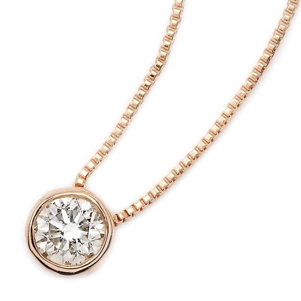 ダイヤモンド ネックレス 一粒 0.15ct K18 ピンクゴールド Nudie Heart Plus(ヌーディーハートプラス) 人気の覆輪留 ペンダント