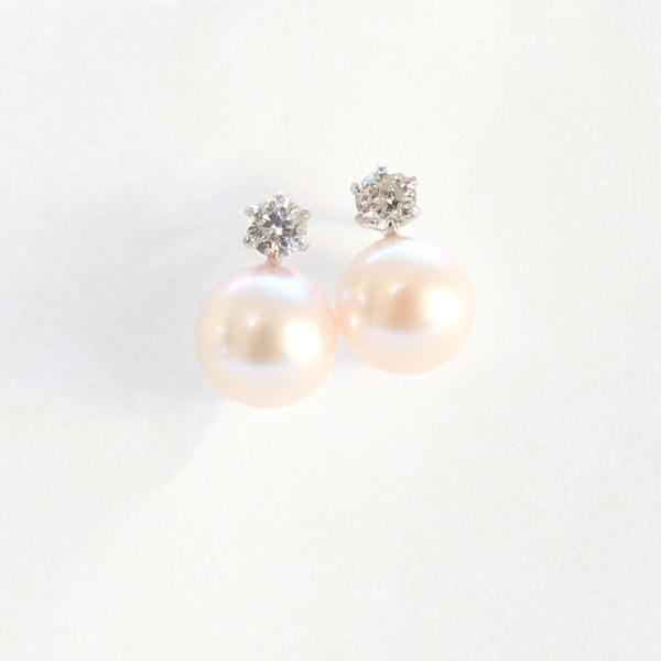 プラチナ 7mmあこや真珠 0.2ct 天然ダイヤモンドピアス パールピアス【代引不可】【卸直送品】