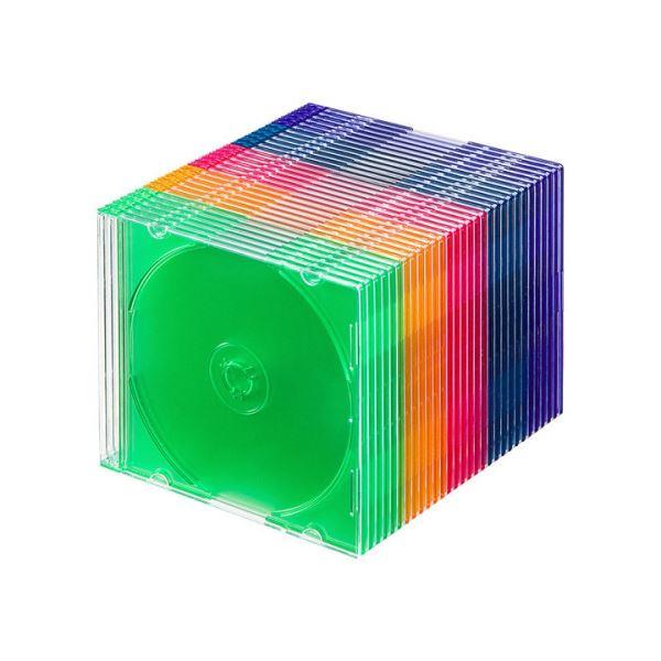 (まとめ)サンワサプライBlu-ray・DVD・CDケース(スリムタイプ) 5色ミックス FCD-PU30MX 1パック(30枚)【×3セット】【卸直送品】
