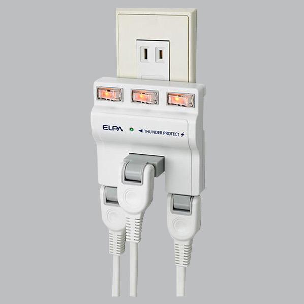 使用機器だけの電源管理ができます。 エルパ 耐雷サージ 独立スイッチ付タップ A-S500B(W) [AS500BW]