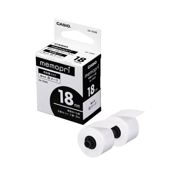 付箋紙のような感覚で使用できる、貼りやすくはがしやすい裏紙の発生しない専用テープです。 カシオ メモプリ用テープ memopri XA-18WE [XA18WE]
