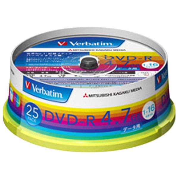 Verbatim データ用DVD-R 4.7GB 1-16倍速 インクジェットプリンタ対応 スピンドルケース 25枚入り DHR47JP25V1 [DHR47JP25V1]