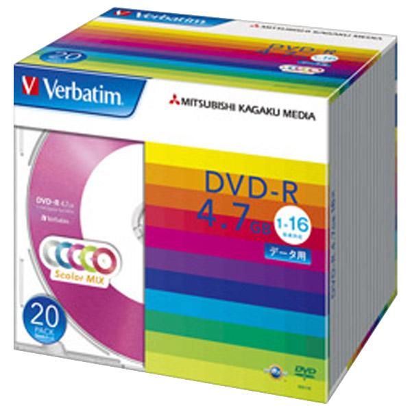 Verbatim データ用DVD-R 4.7GB 1-16倍速 カラーミックス 20枚入り DHR47JM20V1 [DHR47JM20V1]
