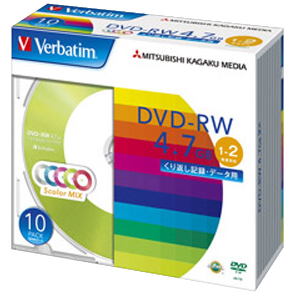 Verbatim データ用DVD-RW 4.7GB 1-2倍速 カラーミックス 10枚入り DHW47NM10V1 [DHW47NM10V1]