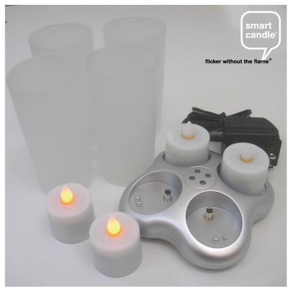 エルックス プラチナ・4ピース充電キャンドルセット スマートキャンドル ホワイトグラス SC2101 [SC2101]