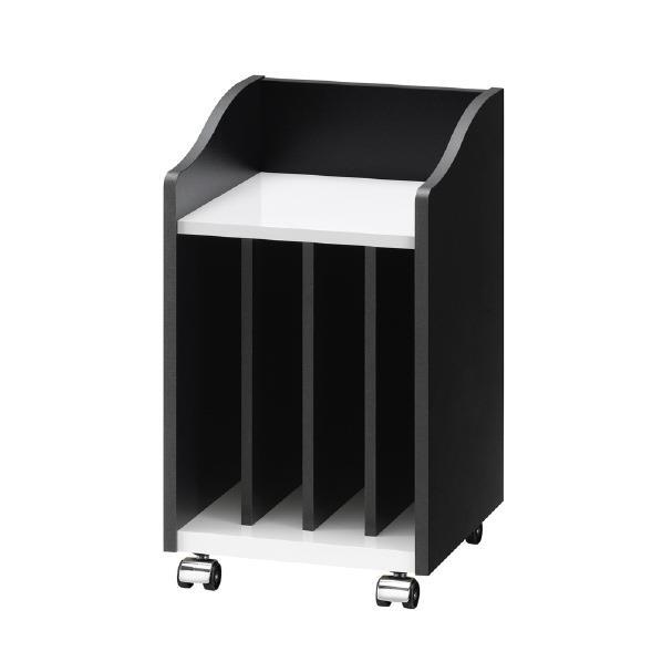 朝日木材 ピアノ下収納 ピアノワゴン ブラック×ホワイト AS-PW30 [ASPW30]