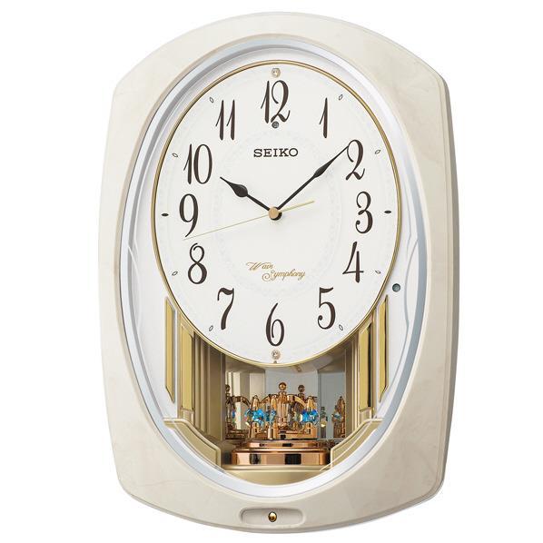SEIKO 電波掛時計 アイボリーマーブル模様光沢仕上げ AM261A [AM261A]
