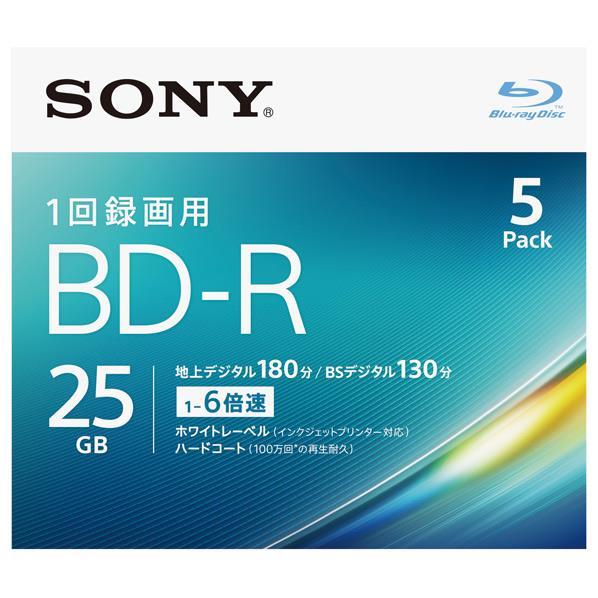 SONY 録画用25GB 1層 1-6倍速対応 BD-R追記型 ブルーレイディスク 5枚入り 5BNR1VJPS6 [5BNR1VJPS6]