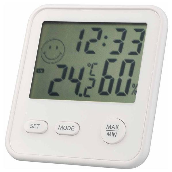 シンプルなデザイン 時計機能も付いた温湿度計 エンペックス デジタルMini温度 入手困難 SPPS 《週末限定タイムセール》 TD8321 シルキーホワイト 湿度計