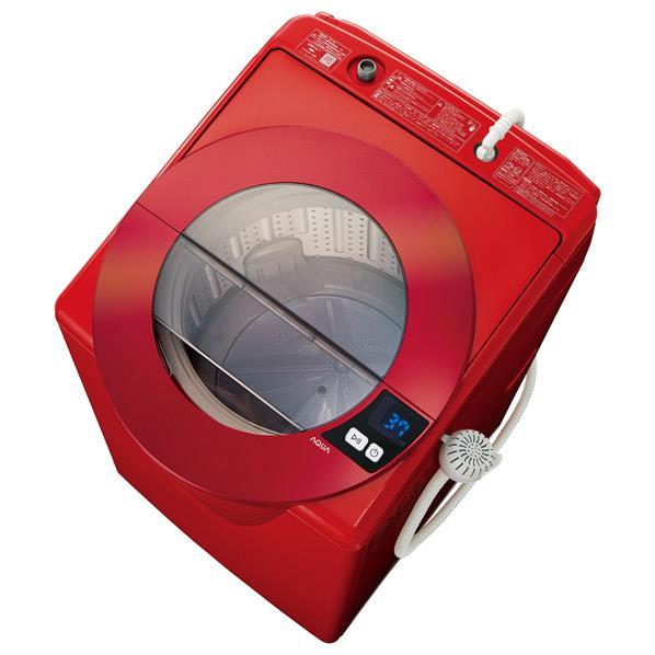 【送料無料】AQUA 8.0kg全自動洗濯機 SLASH シャイニーレッド AQW-LV800F(R) [AQWLV800FR]【RNH】