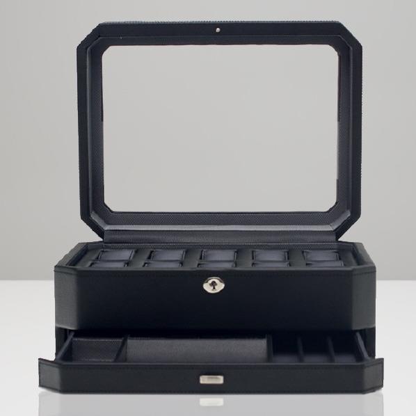 WOLF 10ピースウォッチボックス(ジュエリー収納付) Windsor ブラック 4586029 [4586029]