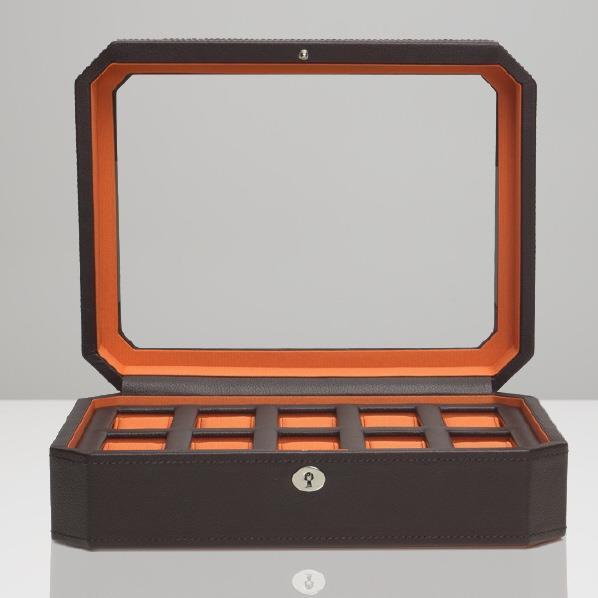 WOLF 10ピースウォッチボックス Windsor ブラウン/オレンジ 458406 [458406]