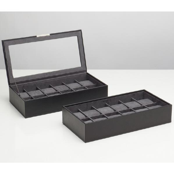 WOLF 12ピースウォッチボックス×2 Stackable watch tray ブラック 319703 [319703]