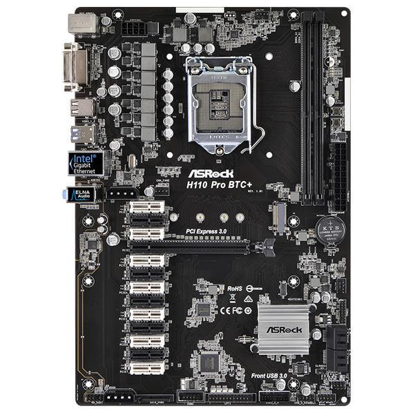 ASROCK マザーボード ブラック H110 PRO BTC+ [H110PROBTC]【SYBN】【MMARP】