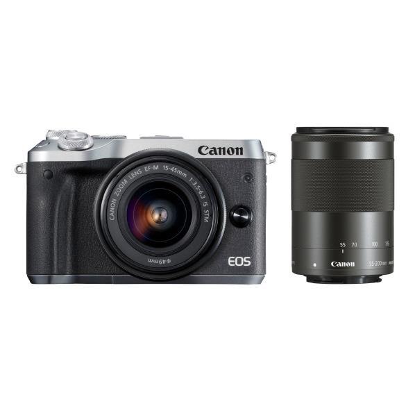 【送料無料】キヤノン デジタル一眼カメラ・ダブルズームキット EOS M6 シルバー EOSM6SLWZK [EOSM6SLWZK]【RNH】
