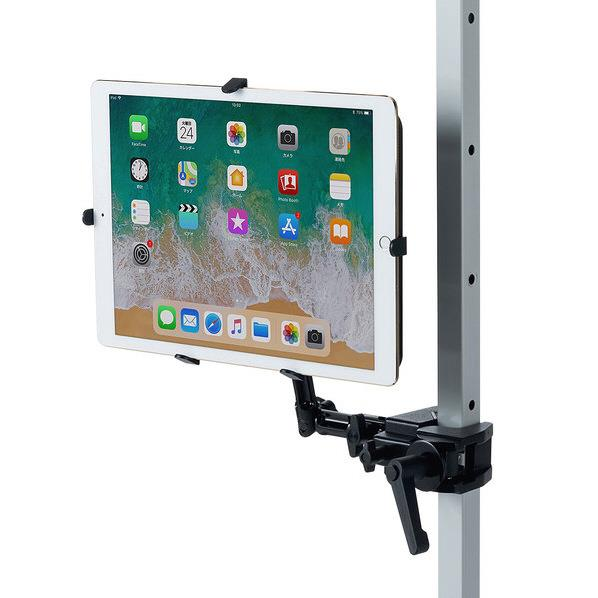 サンワサプライ 9.7~13インチ対応iPad・タブレット用支柱取付けアーム ブラック CR-LATAB27 [CRLATAB27]