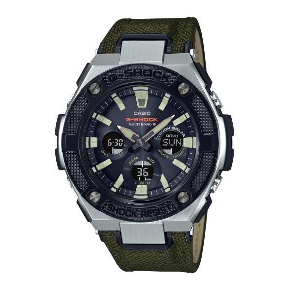 カシオ ソーラー電波腕時計 G-SHOCK G-STEEL ブラック・バンド緑 GST-W330AC-3AJF [GSTW330AC3AJF]