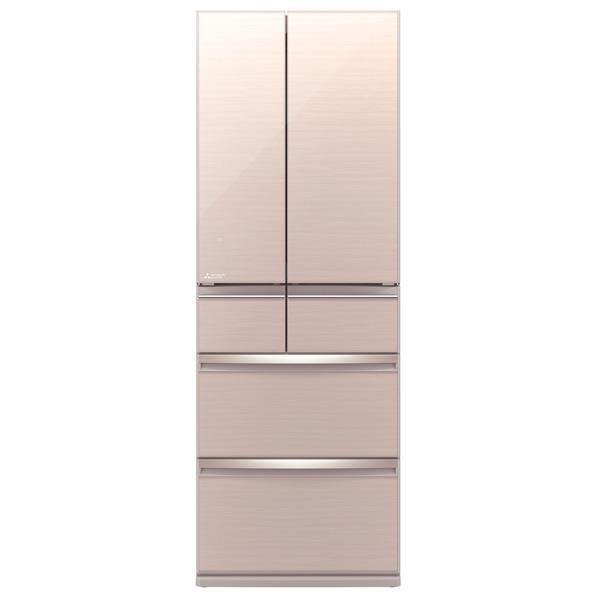 三菱 470L 6ドアノンフロン冷蔵庫 置けるスマート大容量 クリスタルフローラル MR-WX47D-F [MRWX47DF]【RNH】