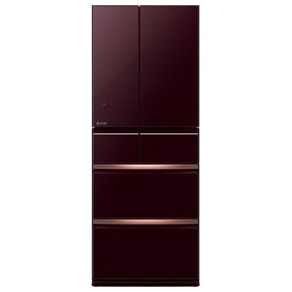 三菱 470L 6ドアノンフロン冷蔵庫 置けるスマート大容量 クリスタルブラウン MR-WX47D-BR [MRWX47DBR]【RNH】