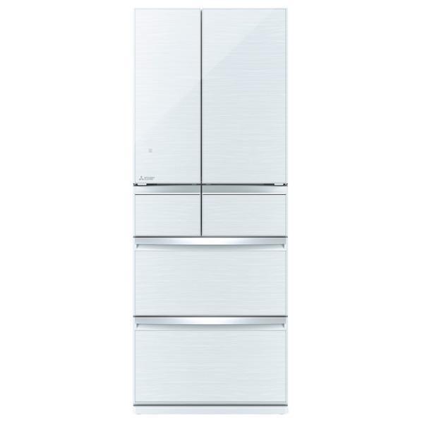 三菱 470L 6ドアノンフロン冷蔵庫 置けるスマート大容量 クリスタルホワイト MR-WX47LD-W [MRWX47LDW]【RNH】