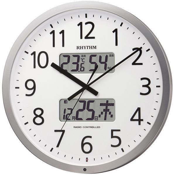 リズム時計 電波掛け時計 RHYTHM シルバーメタリック(白) 4FN403SR19 [4FN403SR19]