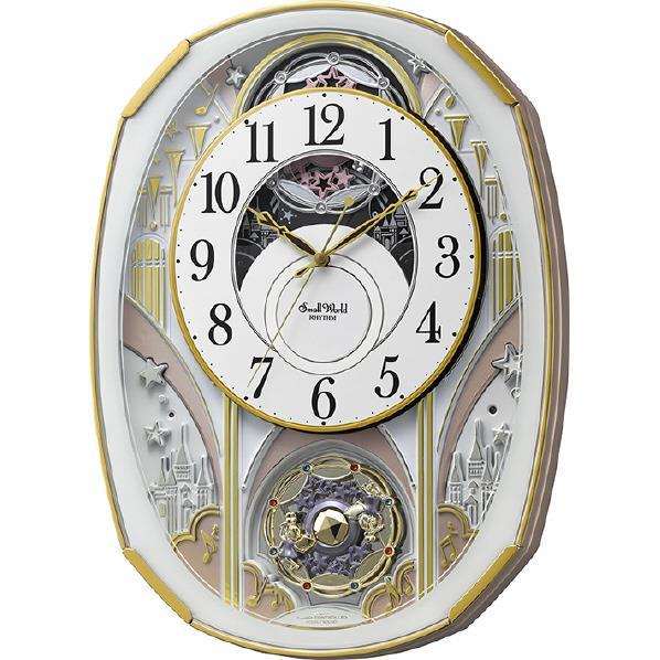 リズム時計 電波カラクリ掛け時計 Small world 白 4MN551RH03 [4MN551RH03]