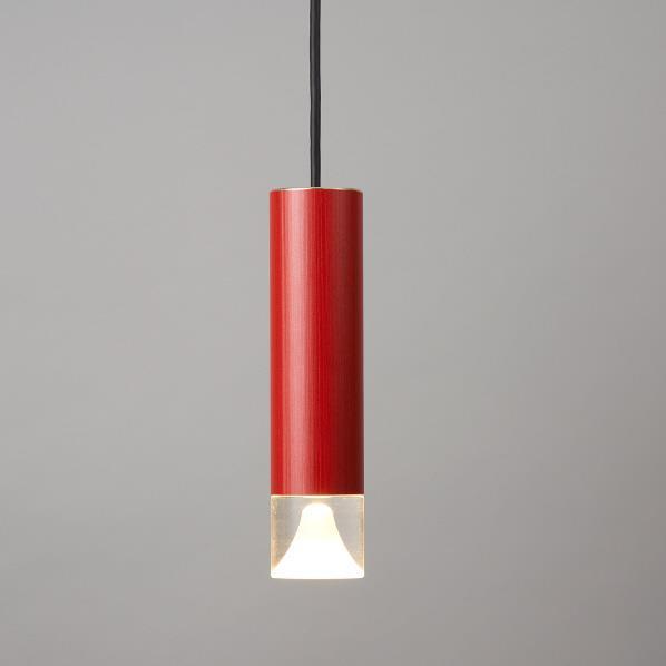 オリンピア照明 LED1灯 円筒ペンダント照明(木目調) 赤 MPN06-R [MPN06R]