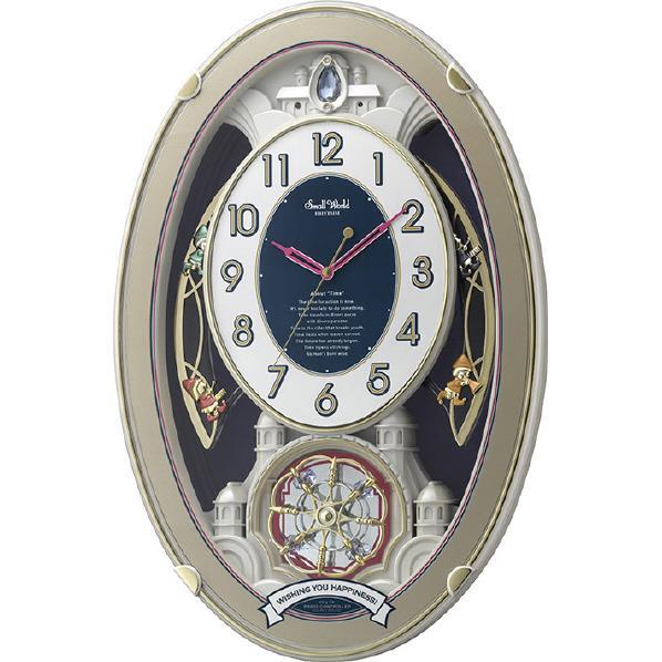 リズム時計 電波掛け時計 RHYTHM スモールワールドウィッシュ 白パール 4MN544RH18 [4MN544RH18]