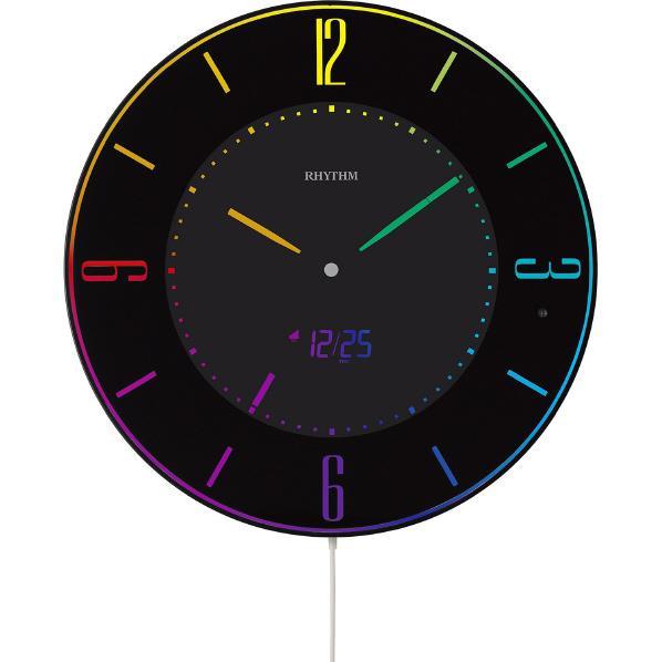 リズム時計 置き掛け兼用時計 RHYTHM 黒 8RZ197SR02 [8RZ197SR02]