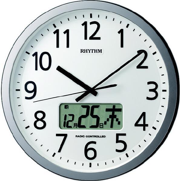 リズム時計 プログラムカレンダー405SR 電波掛時計 RHYTHM シルバーメタリック色 4FN405SR19 [4FN405SR19]
