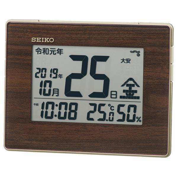マーケティング カレンダーを大きく表示 温度 湿度表示 AL完売しました アラームつきの多機能タイプ 電波置き掛け兼用時計 SQ442B SEIKO