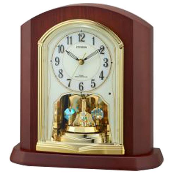 リズム時計 電波置時計 CITIZEN(シチズン) 茶色半艶仕上(アイボリー) 4RY702-N06 [4RY702N06]